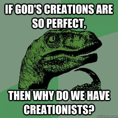 if god's creations are so perfect, Then why do we have creationists?