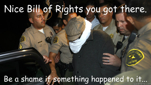 Nice Bill of Rights you got there. Be a shame if something happened to it...  Defend the Constitution