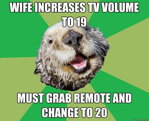 wife increases tv volume to 19 must grab remote and change to 20  OCD Otter