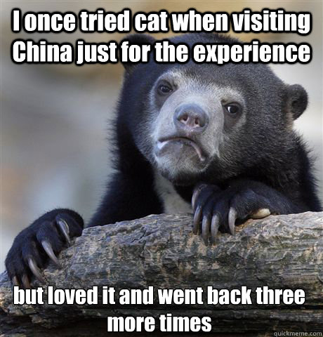 I once tried cat when visiting China just for the experience but loved it and went back three more times - I once tried cat when visiting China just for the experience but loved it and went back three more times  Confession Bear