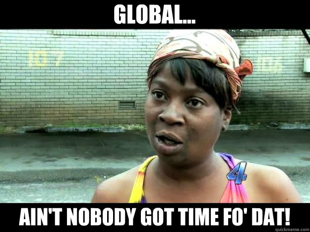 global... Ain't Nobody Got Time Fo' Dat!  Sweet Brown - Hurricane Sandy Aint Nobody Got Time For That
