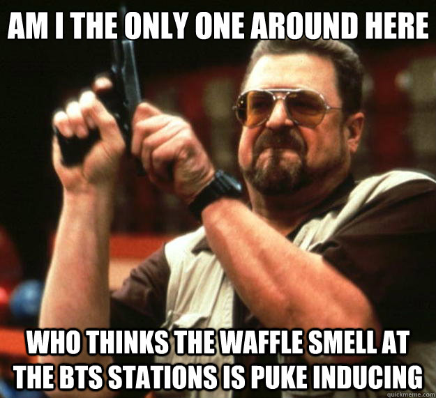 Am I the only one around here who thinks the waffle smell at the bts stations is puke inducing - Am I the only one around here who thinks the waffle smell at the bts stations is puke inducing  Big Lebowski