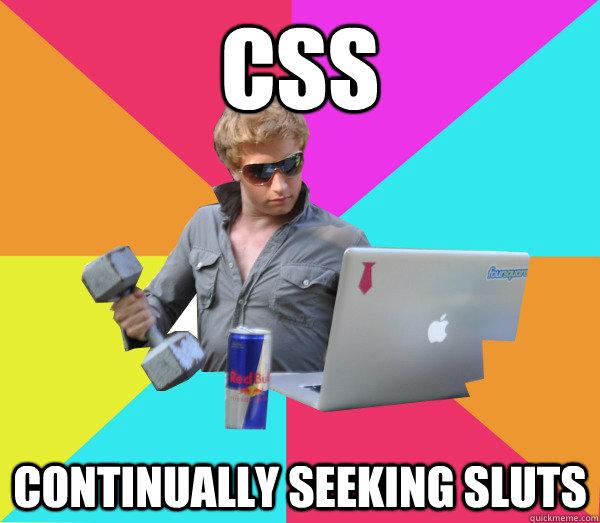 CSS Continually seeking sluts  Brogrammer