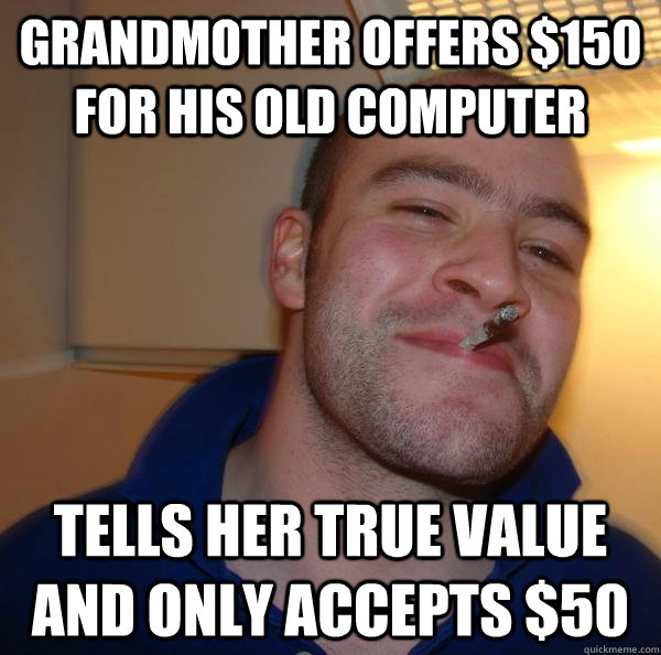 Grandmother offers $150 for his old computer tells her true value and only accepts $50 - Grandmother offers $150 for his old computer tells her true value and only accepts $50  Misc