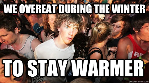We overeat during the winter to stay warmer - We overeat during the winter to stay warmer  Sudden Clarity Clarence