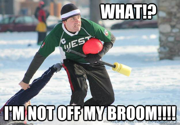 WHAT!? I'M NOT OFF MY BROOM!!!!  broom