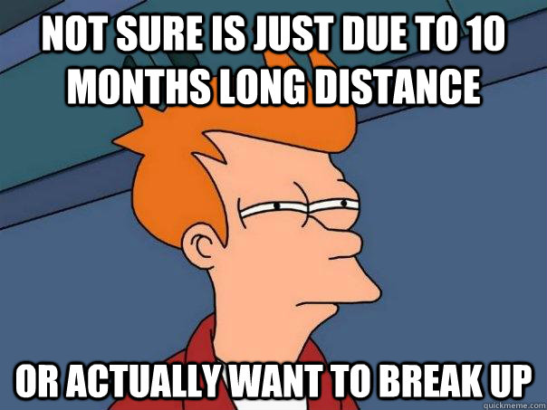 not sure is just due to 10 months long distance Or actually want to break up - not sure is just due to 10 months long distance Or actually want to break up  Futurama Fry