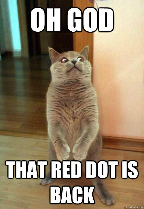 Oh god that red dot is back  Horrorcat