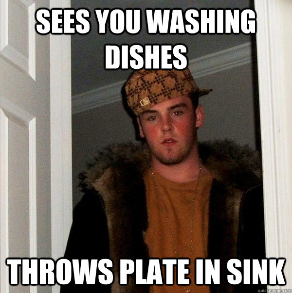 Sees you washing dishes throws plate in sink - Sees you washing dishes throws plate in sink  Scumbag Steve