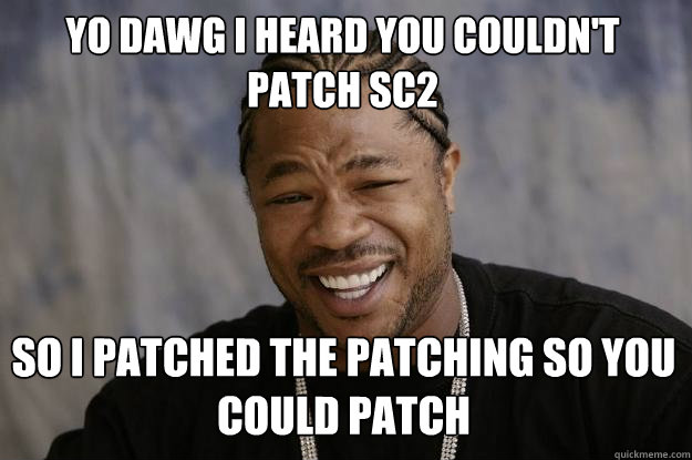 YO DAWG I HEARD YOU COULDN'T PATCH SC2 SO I PATCHED THE PATCHING SO YOU COULD PATCH  Xzibit meme