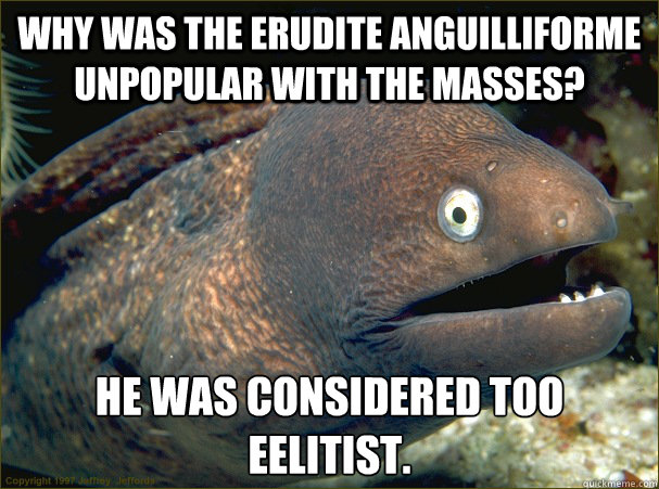 Why was the erudite anguilliforme unpopular with the masses? He was considered too eelitist. - Why was the erudite anguilliforme unpopular with the masses? He was considered too eelitist.  Bad Joke Eel