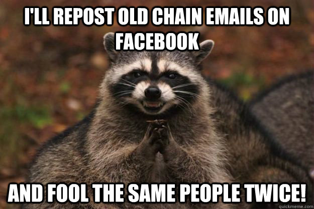 I'll repost old chain emails on facebook and fool the same people twice! - I'll repost old chain emails on facebook and fool the same people twice!  Evil Plotting Raccoon