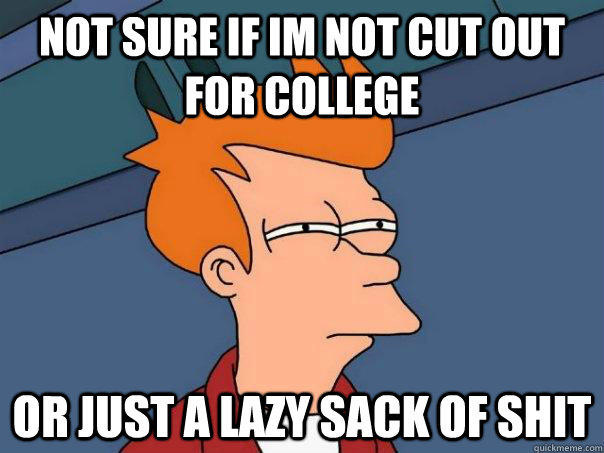 Not sure if im not cut out for college or just a lazy sack of shit - Not sure if im not cut out for college or just a lazy sack of shit  Futurama Fry