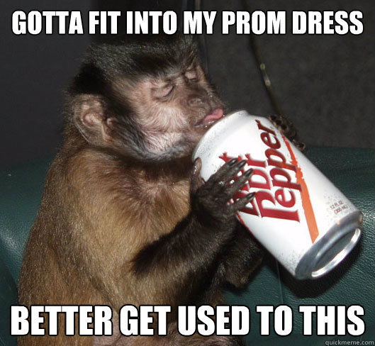 gotta fit into my prom dress better get used to this  Dr Pepper Monkey
