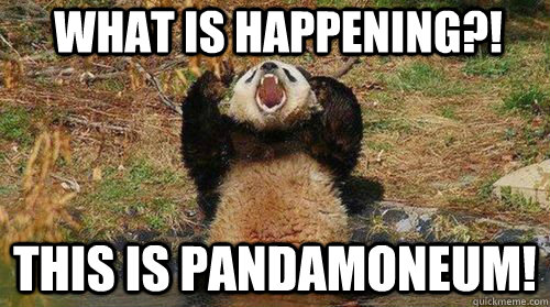 What is happening?! This is pandamoneum! - What is happening?! This is pandamoneum!  Yelling Panda