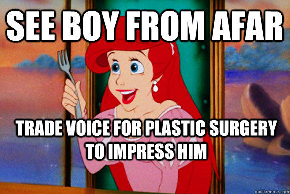 See boy from afar Trade voice for plastic surgery to impress him  Disney Logic