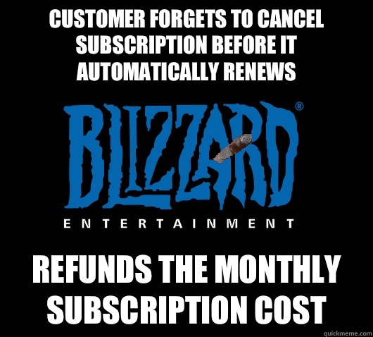 Customer forgets to cancel subscription before it automatically renews  Refunds the monthly subscription cost