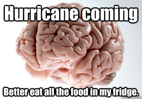 Hurricane coming Better eat all the food in my fridge.  - Hurricane coming Better eat all the food in my fridge.   Scumbag Brain