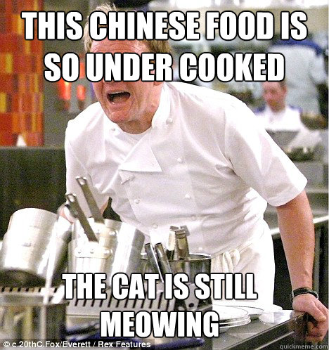 THIS CHINESE FOOD IS SO UNDER COOKED THE cat is still meowing - THIS CHINESE FOOD IS SO UNDER COOKED THE cat is still meowing  gordon ramsay