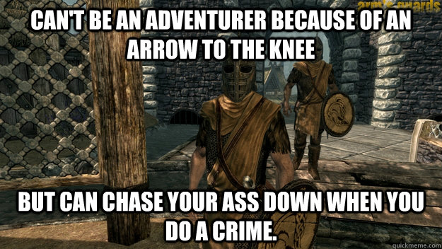 Can't be an adventurer because of an arrow to the knee But can chase your ass down when you do a crime.