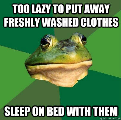 too lazy to put away freshly washed clothes Sleep on bed with them - too lazy to put away freshly washed clothes Sleep on bed with them  Foul Bachelor Frog