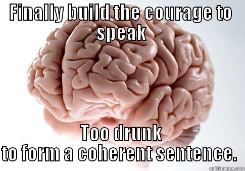FINALLY BUILD THE COURAGE TO SPEAK TOO DRUNK TO FORM A COHERENT SENTENCE.  Scumbag Brain