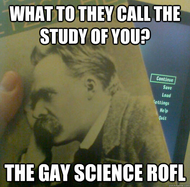 WHAT TO THEY CALL THE STUDY OF YOU? THE GAY SCIENCE ROFL - WHAT TO THEY CALL THE STUDY OF YOU? THE GAY SCIENCE ROFL  Fallout Nietzsche