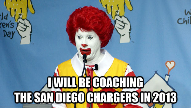 I WILL BE COACHING THE SAN DIEGO CHARGERS IN 2013 -  I WILL BE COACHING THE SAN DIEGO CHARGERS IN 2013  untitled meme