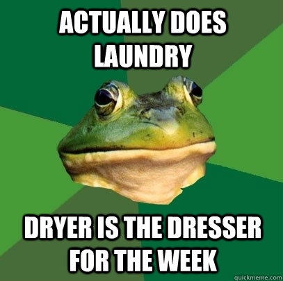 actually does laundry Dryer is the dresser for the week - actually does laundry Dryer is the dresser for the week  Foul Bachelor Frog