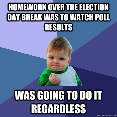 Homework over the election day break was to watch poll results was going to do it regardless - Homework over the election day break was to watch poll results was going to do it regardless  Success Kid