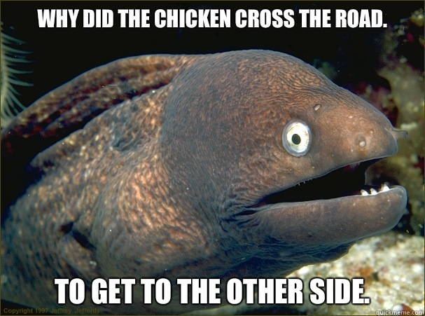 Why did the chicken cross the road. To get to the other side.  Bad Joke Eel