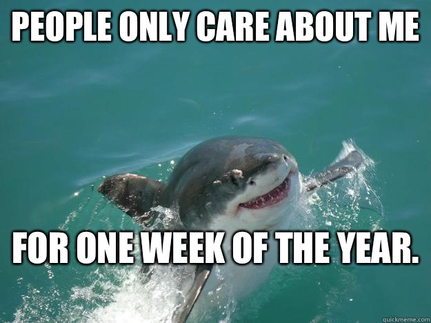 People only care about me For one week of the year.   Misunderstood Shark