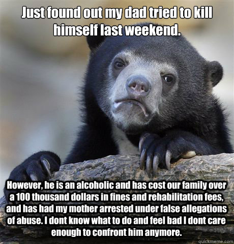 Just found out my dad tried to kill himself last weekend. However, he is an alcoholic and has cost our family over a 100 thousand dollars in fines and rehabilitation fees, and has had my mother arrested under false allegations of abuse. I dont know what t - Just found out my dad tried to kill himself last weekend. However, he is an alcoholic and has cost our family over a 100 thousand dollars in fines and rehabilitation fees, and has had my mother arrested under false allegations of abuse. I dont know what t  Confession Bear