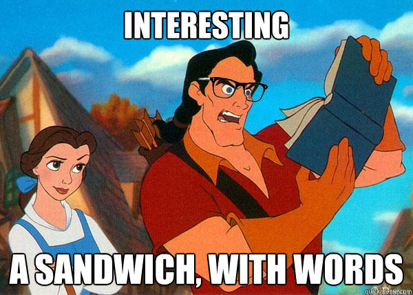 interesting A sandwich, with words  Hipster Gaston