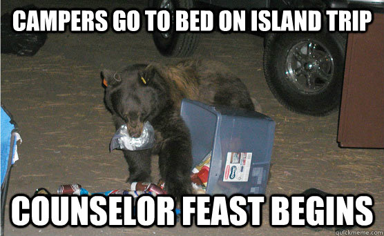 campers go to bed on island trip counselor feast begins