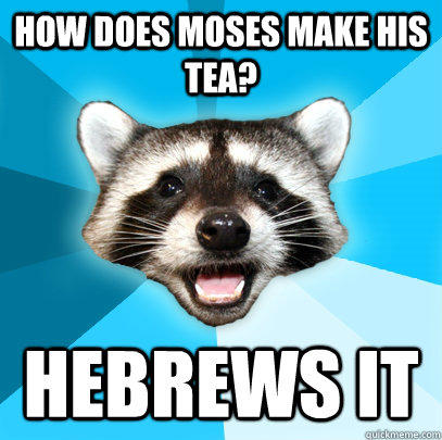 HOW DOES MOSES MAKE HIS TEA? HEBREWS IT - HOW DOES MOSES MAKE HIS TEA? HEBREWS IT  Lame Pun Coon