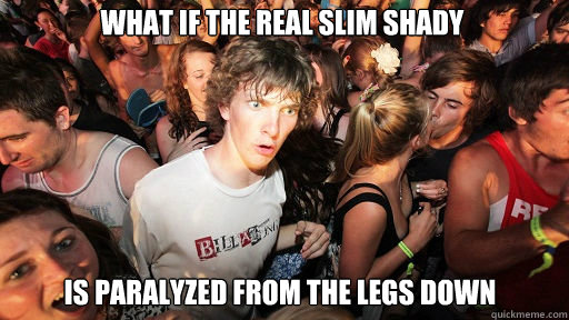 What if the real slim shady is paralyzed from the legs down - What if the real slim shady is paralyzed from the legs down  Sudden Clarity Clarence