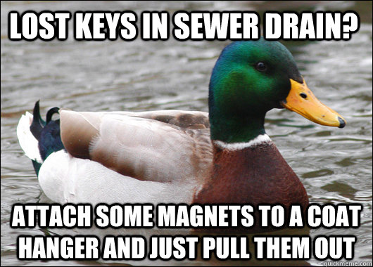 Lost Keys in sewer drain? Attach some magnets to a coat hanger and just pull them out - Lost Keys in sewer drain? Attach some magnets to a coat hanger and just pull them out  Actual Advice Mallard