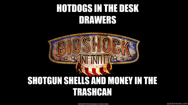 Hotdogs in the desk drawers Shotgun shells and money in the trashcan