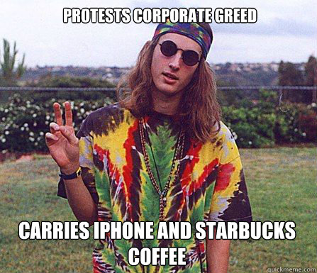 Protests Corporate greed carries iphone and starbucks coffee
