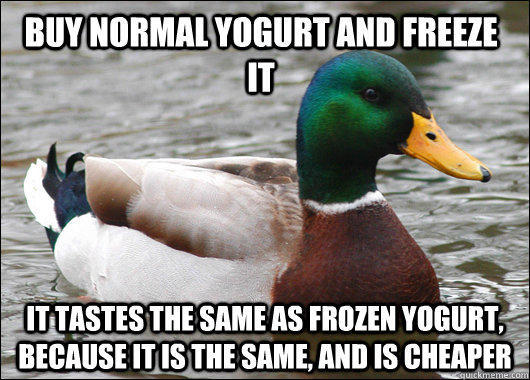 Buy normal yogurt and freeze it  it tastes the same as frozen yogurt, because it is the same, and is cheaper - Buy normal yogurt and freeze it  it tastes the same as frozen yogurt, because it is the same, and is cheaper  Actual Advice Mallard