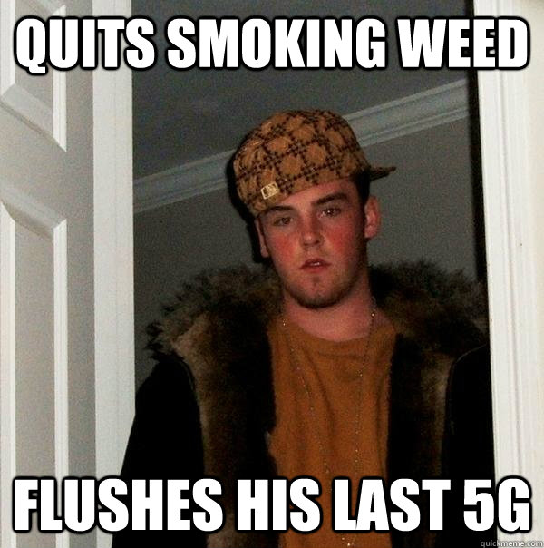 Quits smoking weed flushes his last 5g - Quits smoking weed flushes his last 5g  Scumbag Steve