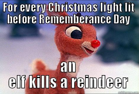 FOR EVERY CHRISTMAS LIGHT LIT BEFORE REMEMBERANCE DAY AN ELF KILLS A REINDEER Condescending Rudolph