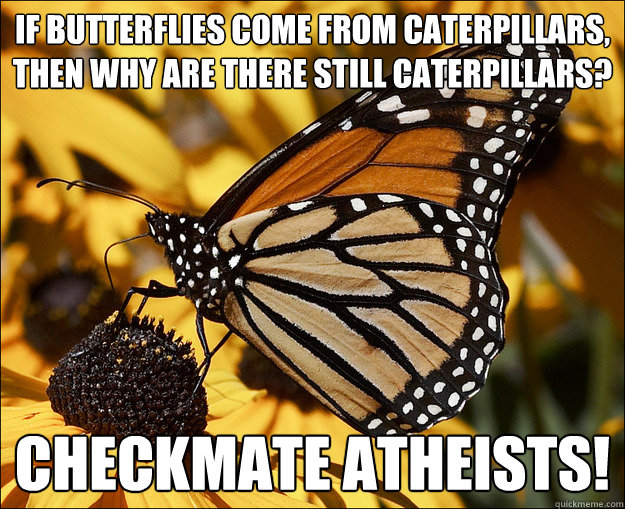 if butterflies come from caterpillars, then why are there still caterpillars? checkmate atheists!