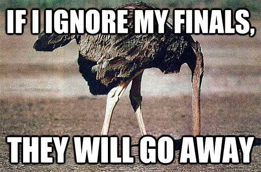 If I ignore my finals, They will go away - If I ignore my finals, They will go away  Ozzy the Ostracizing Ostrich