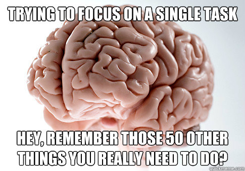 Trying to focus on a single task Hey, remember those 50 other things you really need to do? - Trying to focus on a single task Hey, remember those 50 other things you really need to do?  Scumbag Brain