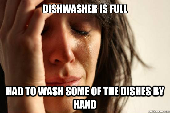 Dishwasher is full Had to wash some of the dishes by hand - Dishwasher is full Had to wash some of the dishes by hand  First World Problems