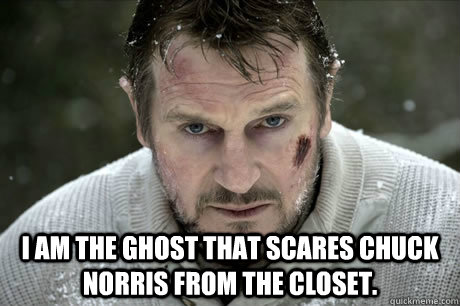 i am the ghost that scares chuck Norris from the closet. -  i am the ghost that scares chuck Norris from the closet.  Misc