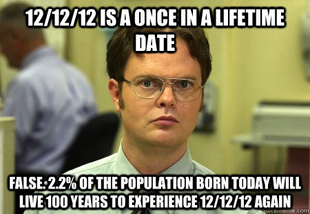 12/12/12 is a once in a lifetime date false. 2.2% of the population born today will live 100 years to experience 12/12/12 again