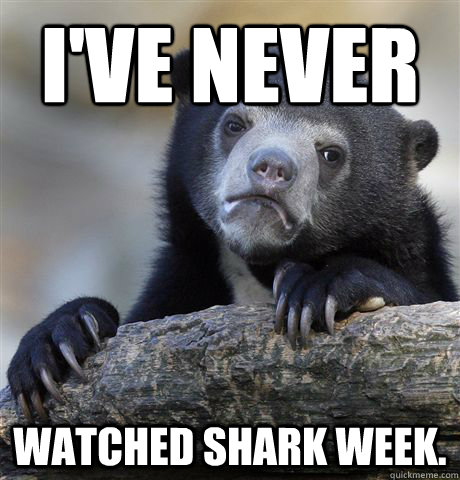 i've never watched shark week. - i've never watched shark week.  Confession Bear
